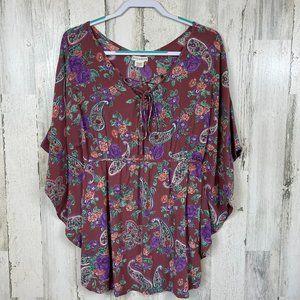 Billabong poncho style tunic floral boho lace up M